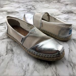 Toms Metallic Silver Mesh Espadrille Loafer Shoes